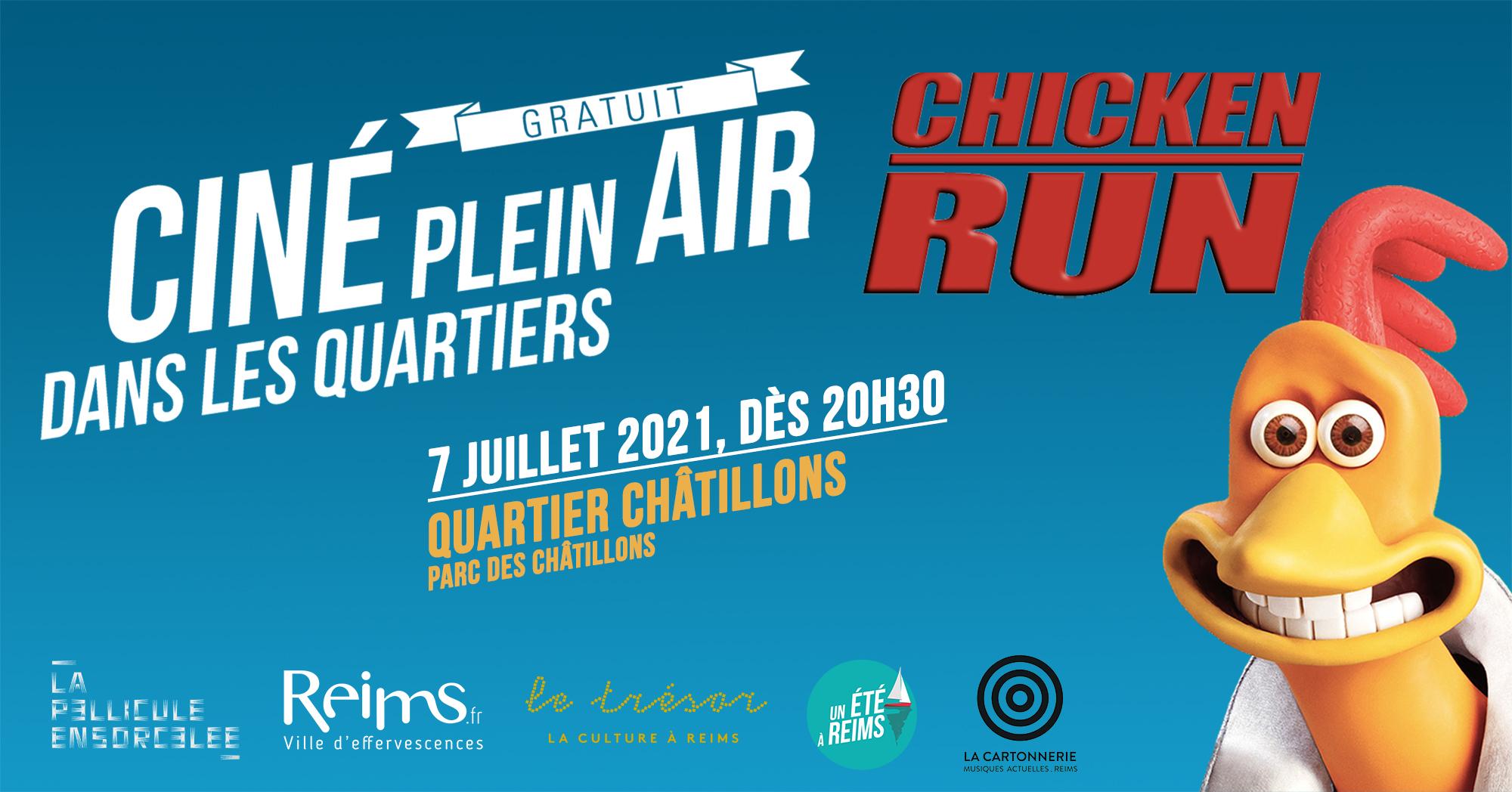 Bannière Ciné Plein Air Chicken Run